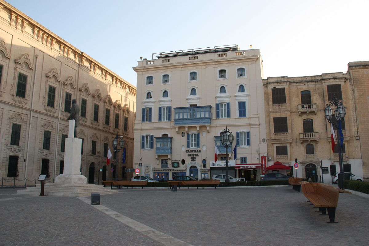 Castille Hotel prominently located in Castille Square, Valletta